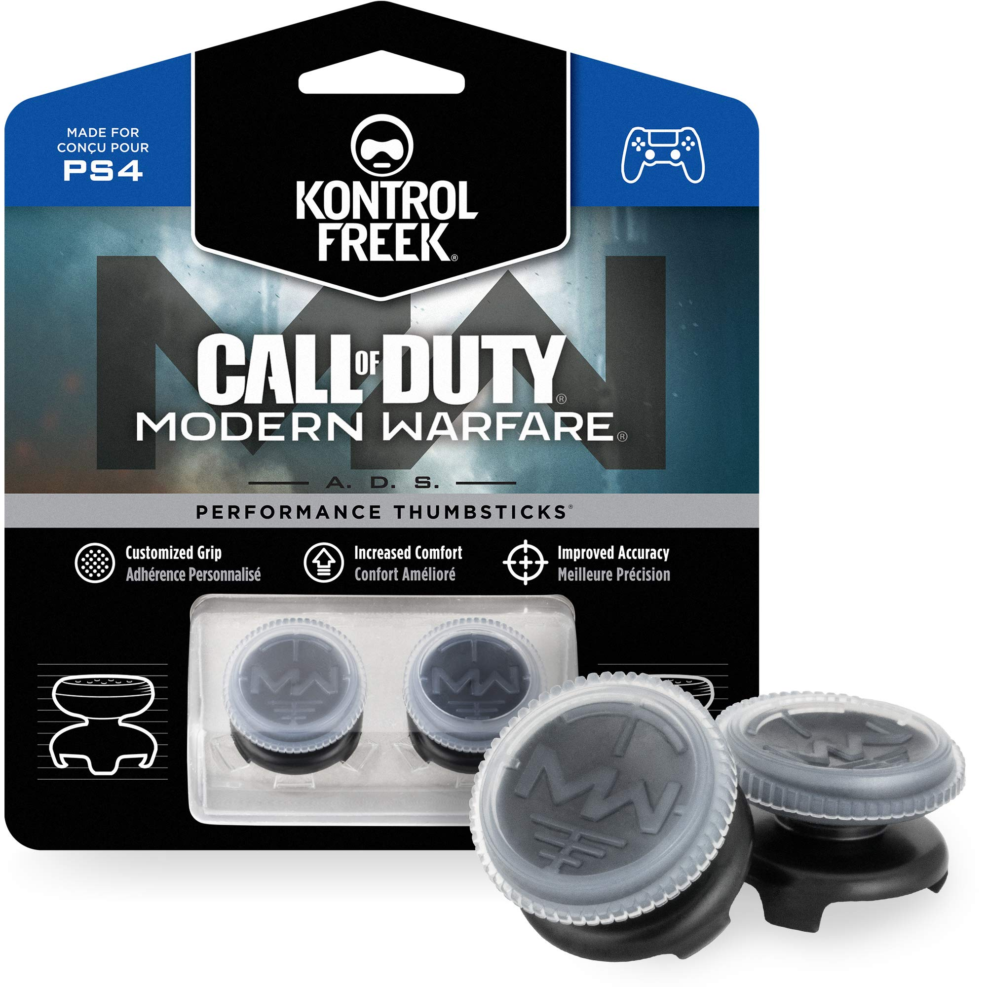KontrolFreek Call of Duty: Modern Warfare – A.D.S. Joysticks Performance pour Manette PlayStation 4 (PS4) | 2 High-Rise, Concave | Transparent/Black