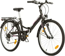 Multibrand, Folding City 24 Lady, 24 Zoll, 457mm, Klapp Mountainbike, 6-Gang, Vorderer und Hinterer Kotflügel Violet Rosa