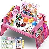 lenbest Reseficka, inomhus- och utomhuslärande pedagogiska leksaker lekbricka knäskrivbord med torr raderingstopp – 6 pennor