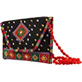 Craft Trade Women's Cotton Handmade Designer Dot Print Geometric Embroidery Patch Work Envelop Pattern Rajasthani Clutch Slin
