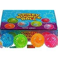 Quality Set Of 12 Flashing Spike Ball Spikey Massage Bounce Light & Sound Sensory Stress.