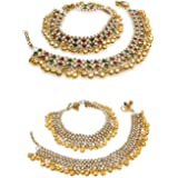 Charms Ghungroo Non-Precious Metal Gold Plated Alloy Anklet for Women and Girls Combo of 2 Pair