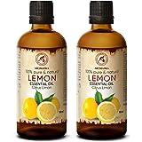 Huile Essentielle de Citron - 2x100 ml - Citrus Limon - pour Diffuseur - Aromathérapie - Pure et Naturelle - Citron - Anti Fa