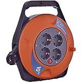 EMOS P19510 Mini-kabelhaspel 10 m, 4-voudige kabelbox/kabelrol/kabelhaspel voor binnen, 4 Schuko-stopcontacten, 2300 W, therm