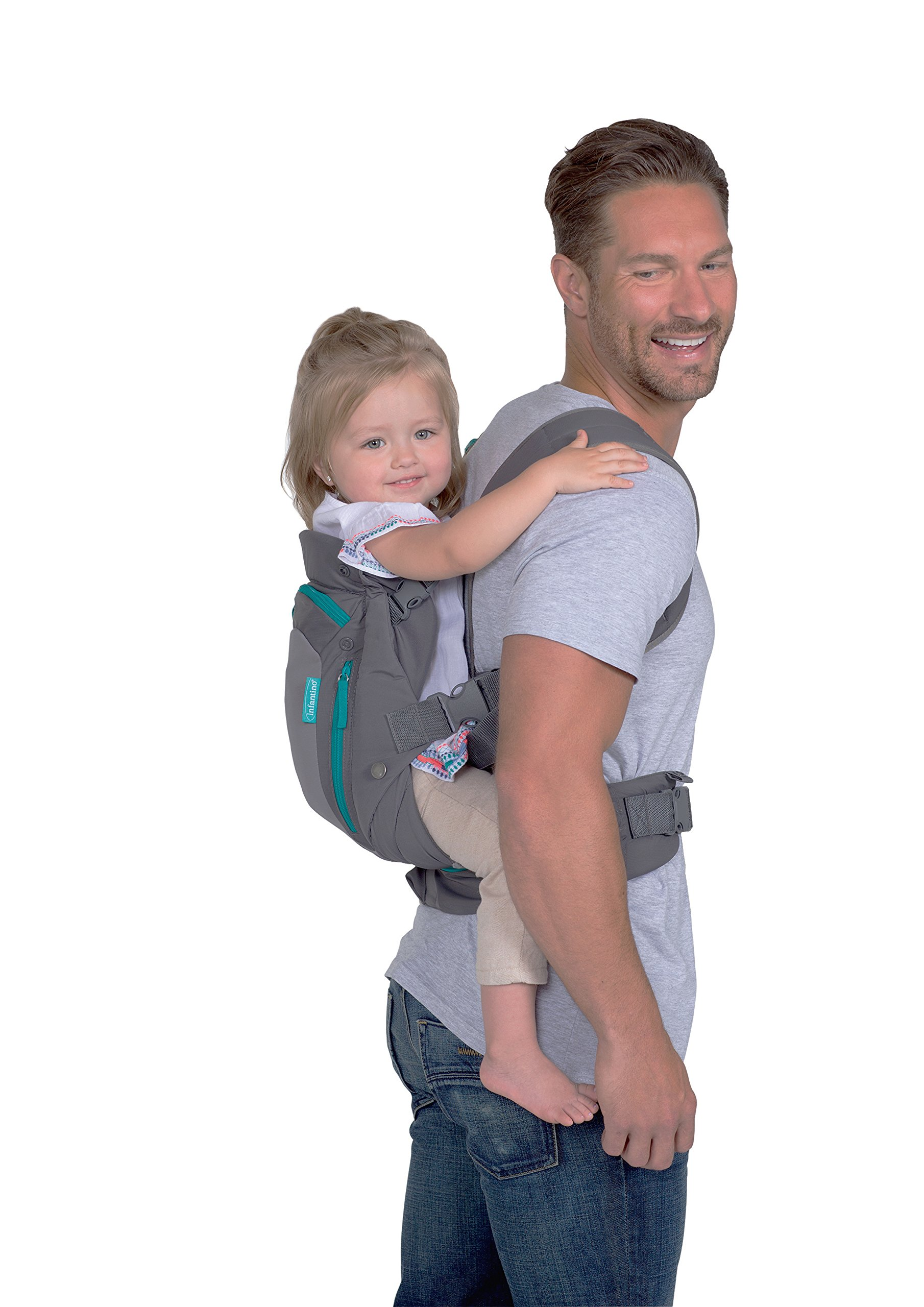 Infantino Carry On Carrier, Grey, One Size Infantino Fully safety tested 4 way carrier  with multiple storage pockets Facing in newborn & m position 2