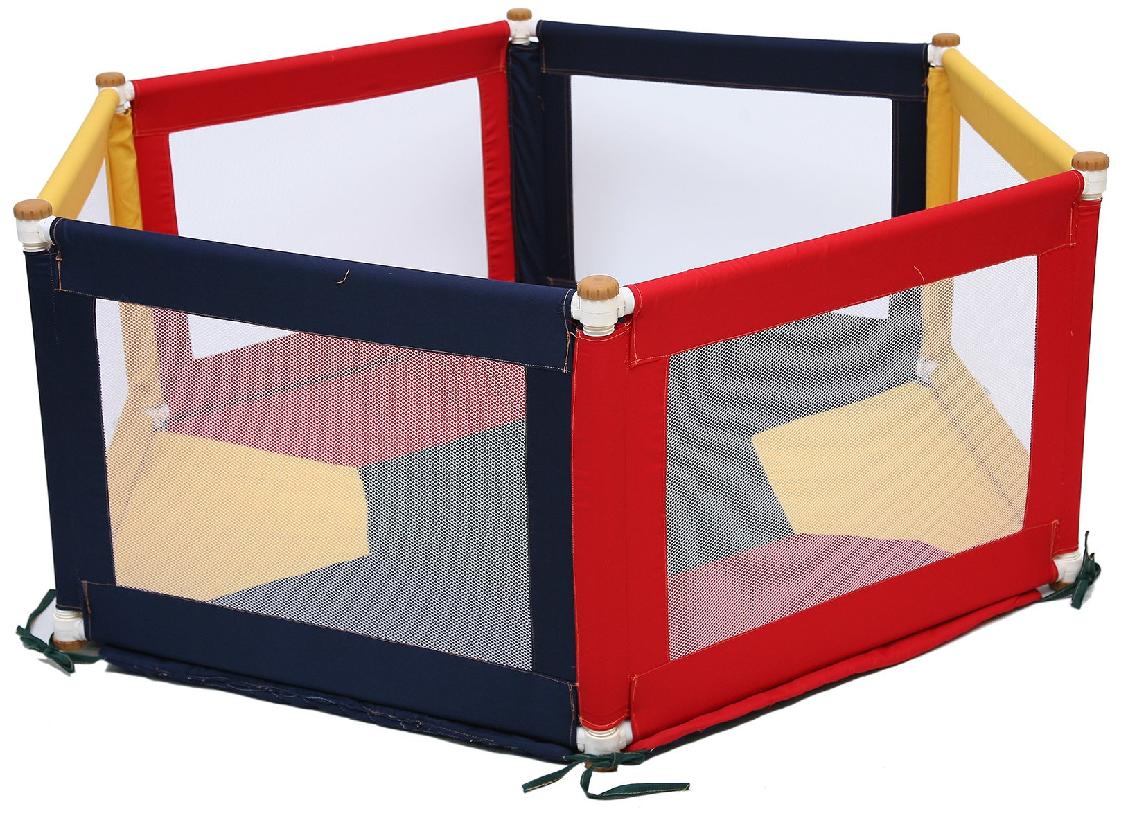 TikkTokk Pokano Fabric Playpen/Mat (Hexagonal, Colourful) TikkTokk Fabric Baby Playpen - keep baby safe & secure whilst providing a large play area Crafted in beautiful, durable polycotton Thick padded, fitted floor mat 1