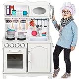 Kinderplay Cucina Legno per Bambini - Grande Cucina per Bambini Legno Vintage Bianca Accessori per Cucina, Cucina Giocattolo