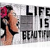 tafeldecoratie Banksy Muur Life Is Beautiful - 120 x 80 cm canvas kamer appartement met uitzicht - klaar te hangen - 301331
