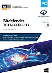 BitDefender Total Security Latest Version with Ransomware Protection (Windows) - 1 User, 3 Years (Email Delivery in 2 hours - No CD)