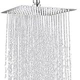 12 Inch Square Rain Shower Head Polish Chrome Rainfall and High Pressure Stainless Steel Bath Showerhead Silver Shower Head C