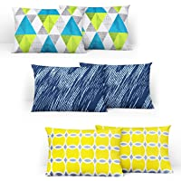 Divine Casa 100% Cotton Printed Design Assorted Pillow Covers Set of 3 (Total 6 Pcs) (Muliticolor, Standard Size)