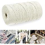 BOZHZO Cordon macramé en Coton 3mm x 200m, Fil de macramé 100% Naturel Ficelle Jute Coton, pour Tricotage Hanging Plant DIY D