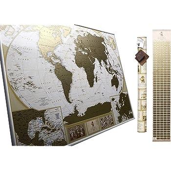 Grande Carte Du Monde A Gratter Edition De Luxe Planisphere 10 000 Villes Et Endroits Marquer
