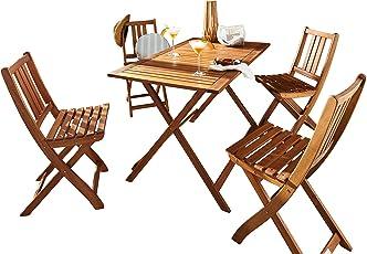SAM Gartengruppe 5tlg. Holstebro, 1 x Tisch + 4 x Stuhl, massives Akazienholz, klappbar, FSC 100% Zertifiziert