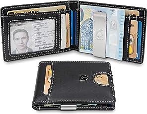 TRAVANDO ® Geldbeutel mit Geldklammer Seattle - Carbon-Optik - 9 Kartenfächer - Münzfach - Schlankes Portemonnaie - RFID Schutz - Geschenk Box - Designed in Germany