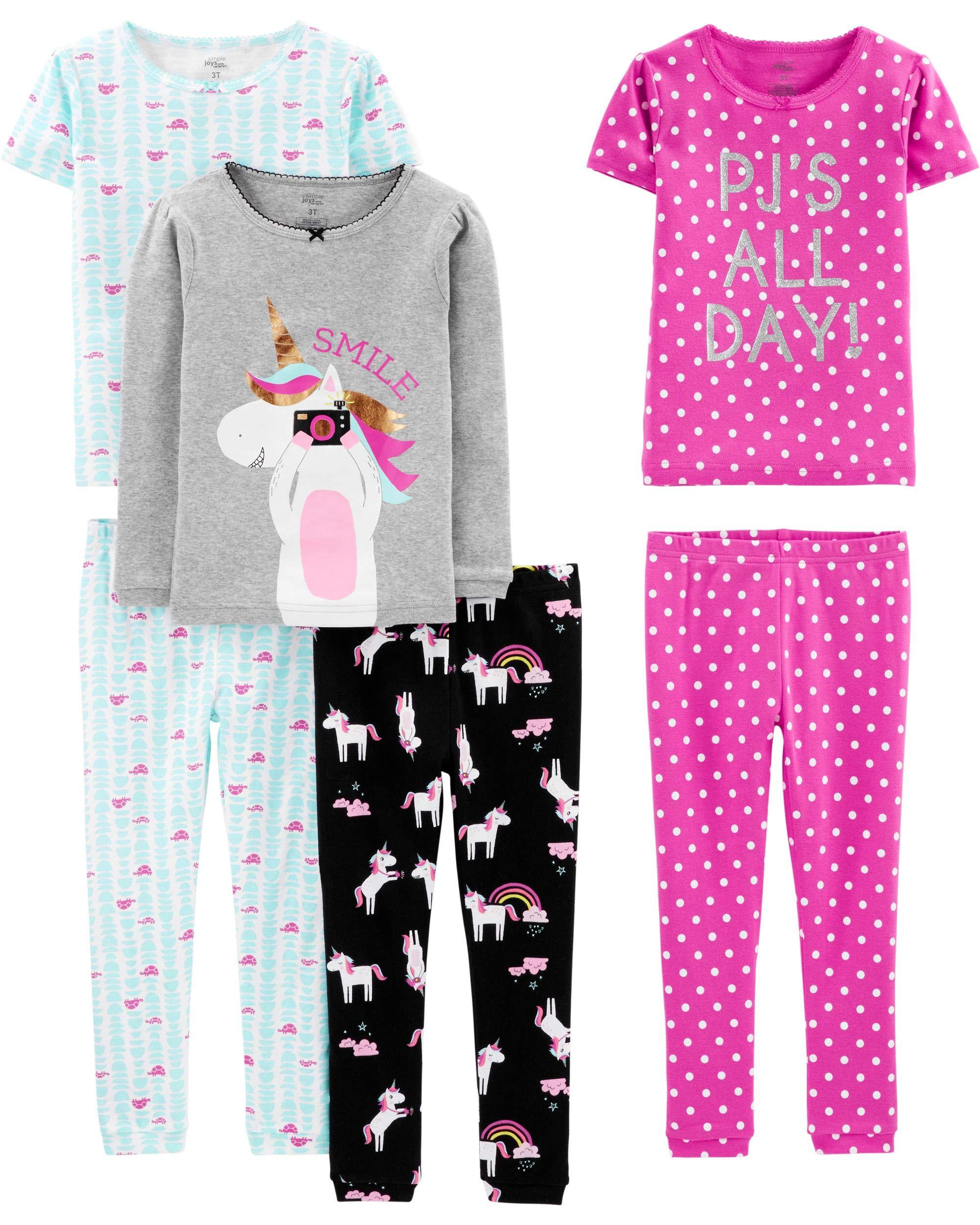 Simple Joys by Carter's - Pijamas enteros - Juego de pijama de algodón de ajuste cómodo de 6 piezas. - para bebé niña 1