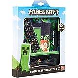 Minecraft Set Papeleria para Niños, Incluye Estuche Escolar Cuaderno A5 Bloc de Notas Lapices Colores Boligrafo, Regalos Cump