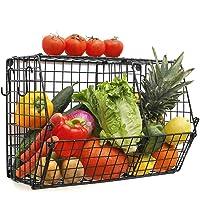 Paniers de cuisine suspendus pour garder fruits et légumes - Avec crochets en S - Panier mural premium en fil…