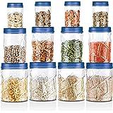 Milton Vitro Plastic Pet Storage Jar and Container, Set of 12 (4 pcs x 270 ml Each, 4 pcs x 665 ml Each, 4 pcs x 1.24 ltrs Ea