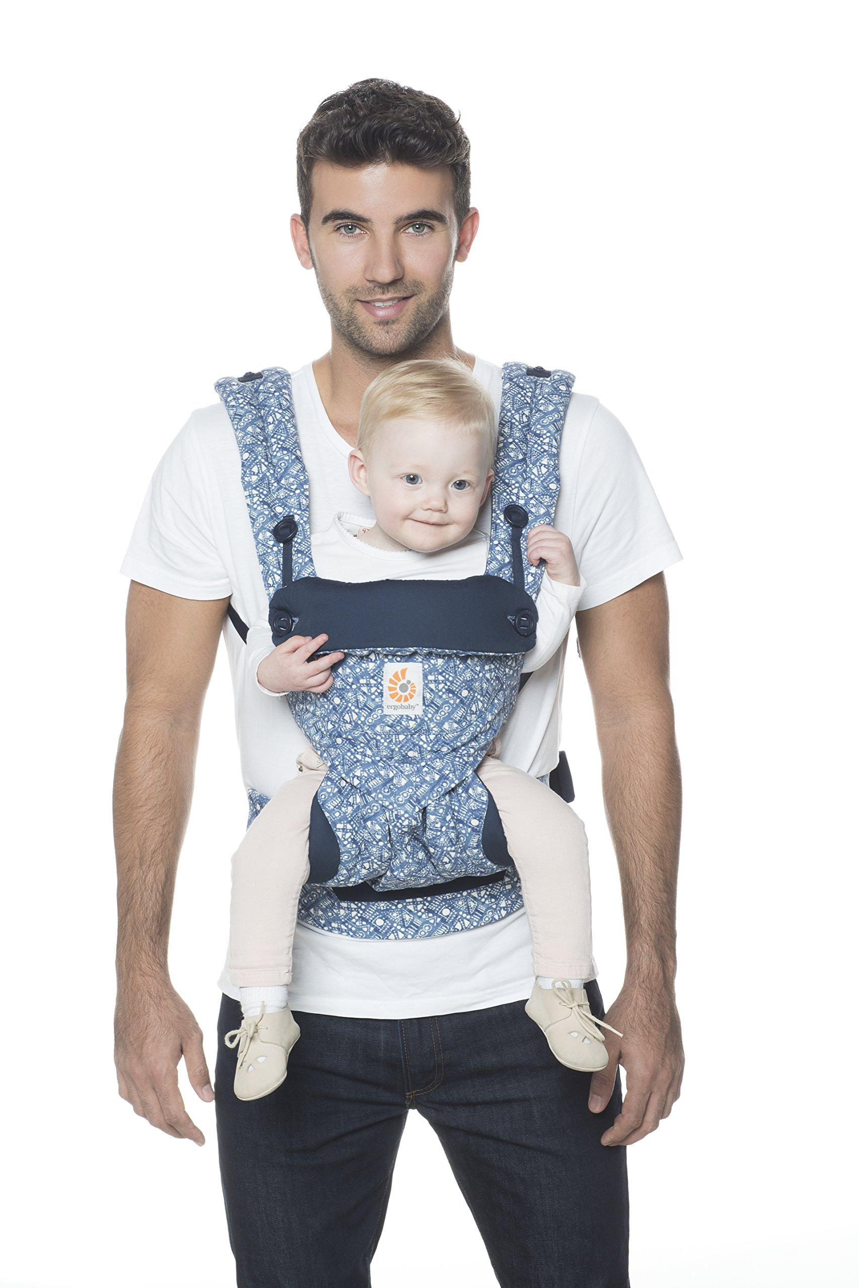 Ergobaby Baby Carrier 6 month plus 360 Limited Edition Batik Indigo, 4 Ergonomic Carry Positions, Front Facing Baby Carrier, Backpack Ergobaby Ergonomic baby carrier with 4 ergonomic carry positions: front-inward, back, hip, and front-outward. The carrier is suitable for babies and toddlers weighing 5.5-20 kg (12-45 lbs), and can be used as a back carrier. Also with insert for newborn babies weighing 3.2-5.5 kg (7-12 lbs), sold separately. NEW - The waistbelt with lumbar support can be worn a little higher or lower to support the lower back and provide optimal comfort, and has adjustable padded shoulder straps. The carrier is suitable for men and women. Maximum baby comfort - The structured bucket seat supports the correct frog-leg position for the baby. The carrier also has a padded, foldable head and neck support. Ergobaby carriers are a new take on the usual baby sling. 3