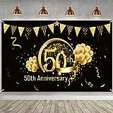 Decoración de Fiesta de Oro Negro de 50 Cumpleaños, Cartel de Oro Negro de Tela Extra Grande para 50 Aniversario Banner de Fo