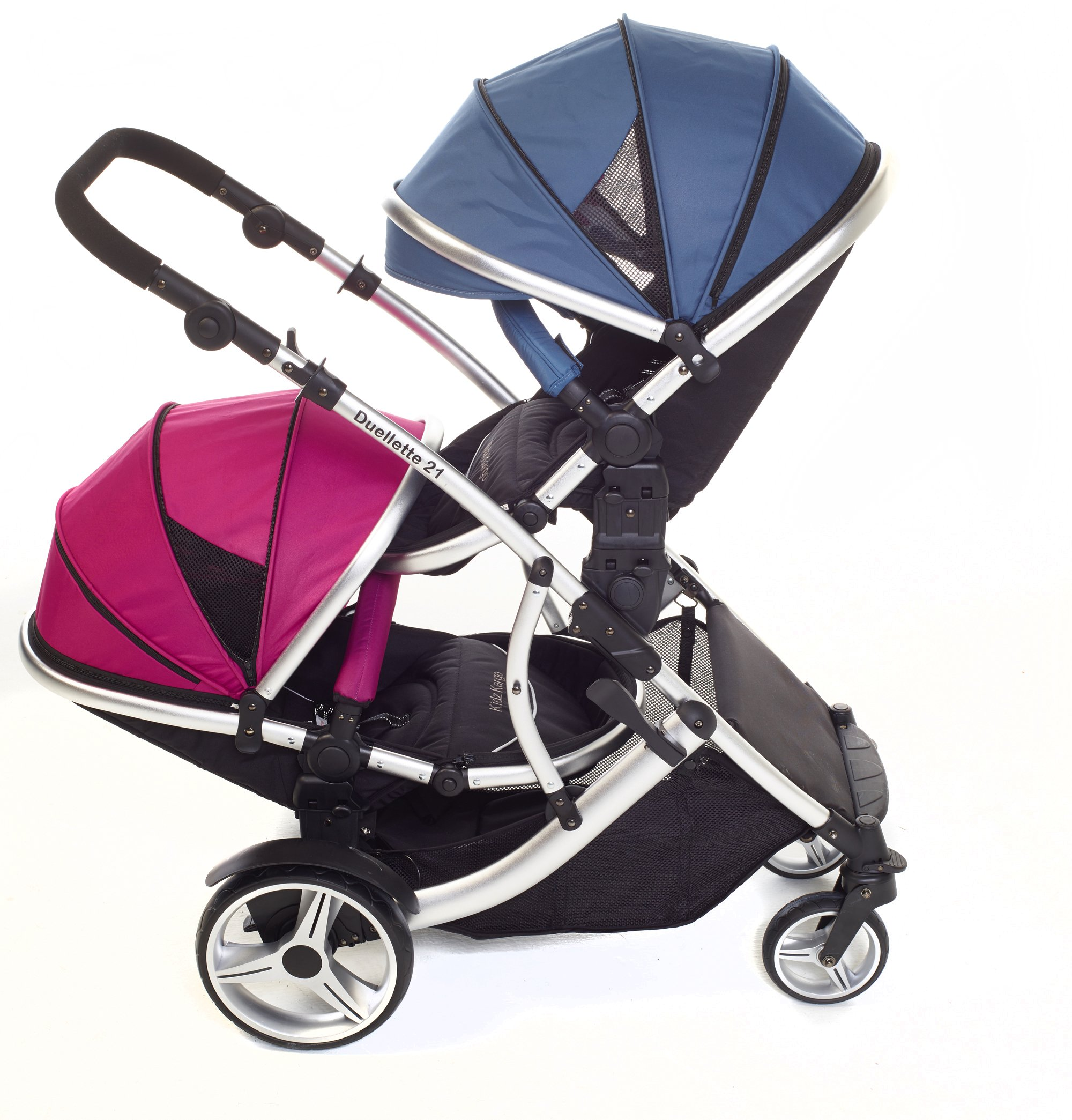 Kids Kargo Duellette 21 BS Travel System Pram Double Pushchair (Raspberry and Blueberry) Kids Kargo Suitability Newborn Twins (if used with car seats) or Newborn/toddler. Various seat positions. Both seats can face mum (ideal for twins) Accommodates 1 or 2 car seats 2