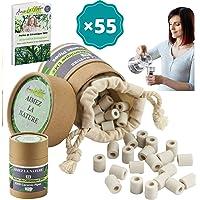 Aimez La Nature 55 Perles de Céramique EM® Avec Sachet Coton Certifié Bio et Pack Ecologique, Purificateur Naturel Eau…