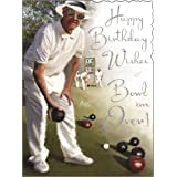 Greeting Card (JJ4269) Male Birthday - Bowling Green - Silver Foil Embossed Finish