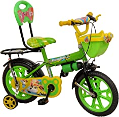 """Rising India 14"""" Green Kids Bicycle For 3-5 Years Double Seated With Full Chain Cover And Bottle."""