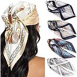 WELROG - Set di 4 sciarpe quadrate di seta da donna, sciarpe in raso, sciarpe, sciarpe, sciarpe, sciarpe, sciarpe, sciarpe, c