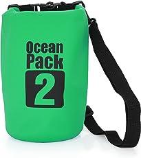 MyGadget Wasserdichte Dry Bag 2L - Trockenbeutel Wasserfeste PVC Drybag Tasche | Schutz vor Wasser & Nässe Outdoor Beutel Urlaub Trockentasche in Grün