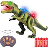 FiGoal Remote Control Dinosaur with LED Lights, Walking, and Roaring Sound, T-Rex Dinosaur Toy with LED Light Up for Kids and