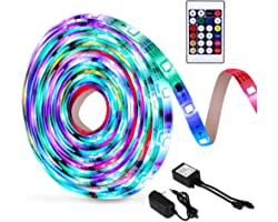 OUSFOT LED Strip, 5050 RGB LED Lights IP65 6m Remote Control 24 Keys Power Adapter, Ambient Multicolour LED Lighting for Chri