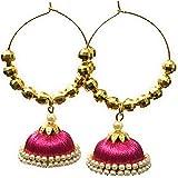JBN Jewels Multi Colour Silk Thread Jhumka Earrings for Women