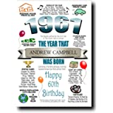 Personalised 60th Birthday Card | Any Name Inserted | Memories & Facts From Year of Birth 1961 | Unique Cards For Men…