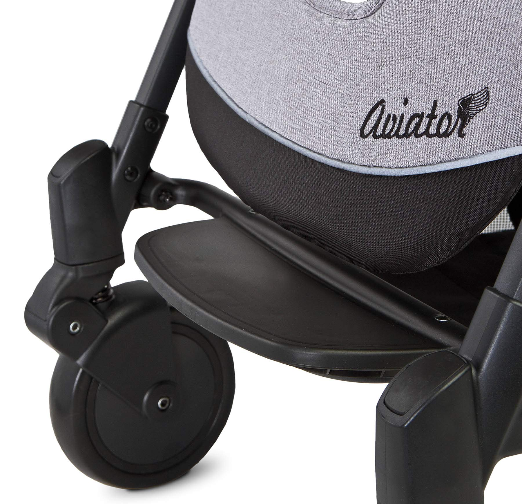 Aviator Ultralight Pushchair Grey Caretero Stroller for babies from 6 months Month weighing up to 15 kg Compact size and light weight (7.1kg) for easy manoeuvring and transport Eva foam wheels front with cushioning for driving comfort 2
