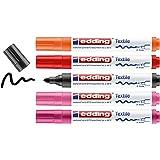 edding 4500 Textilmarker - schwarz, 2x rot, orange, pink - 5 Stück - Rundspitze 2-3 mm - Textilstifte waschmaschinenfest (60