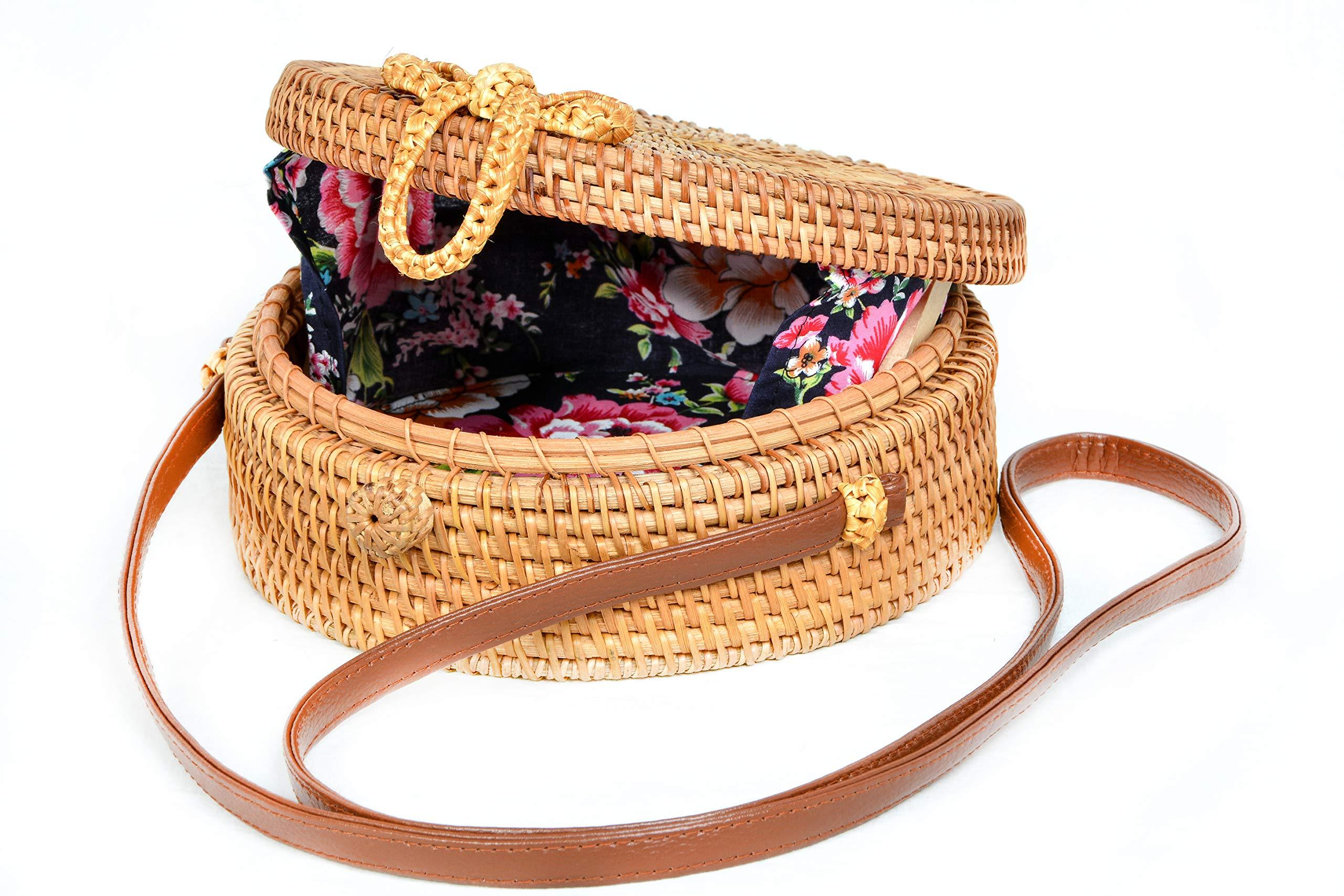 ZAYO Bolso de paja redondo hecho a mano de hombro, con correa de mano, hecho a mano de ratan, natural y elegante