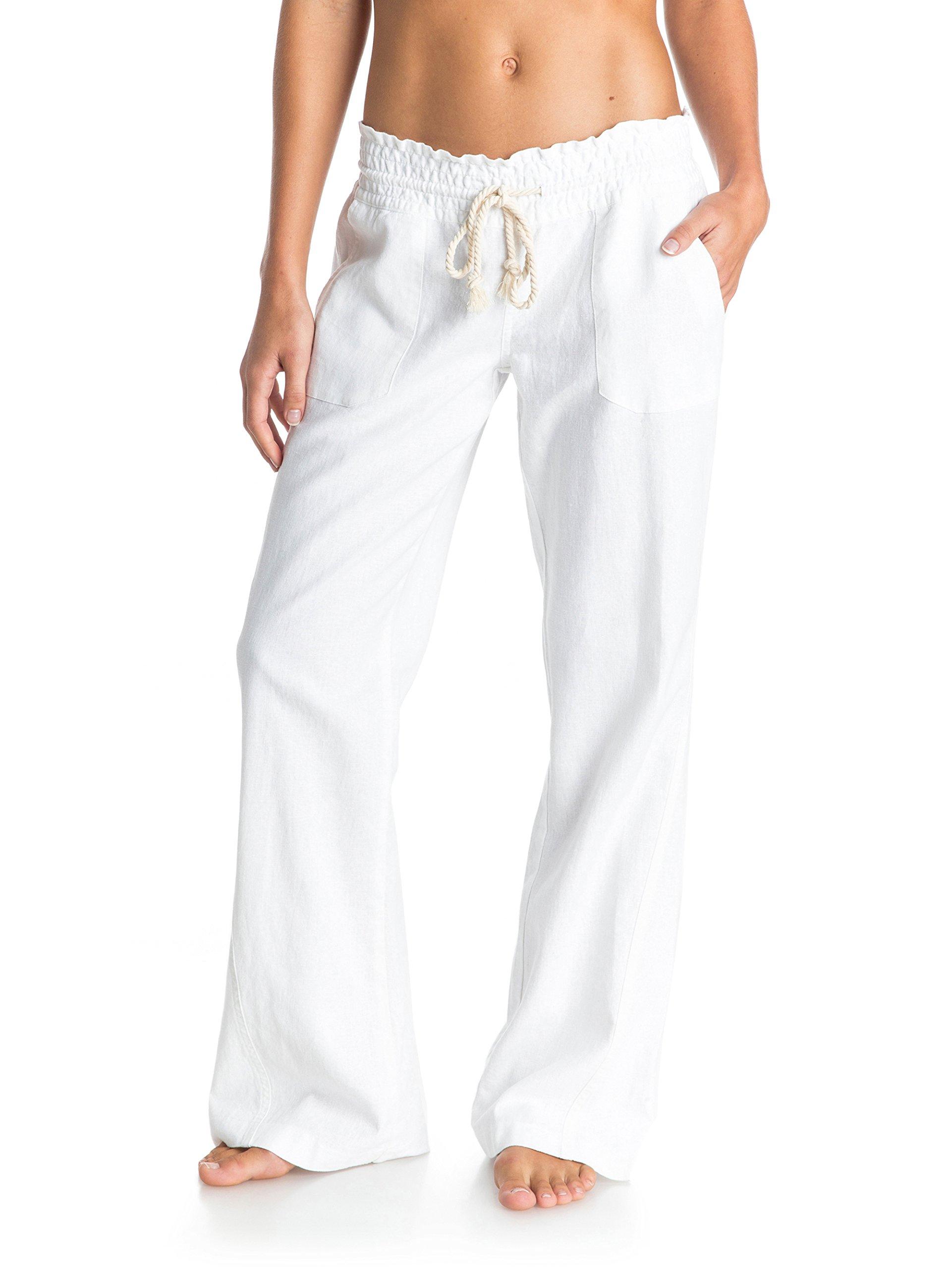 Roxy Oceanside Pantalón De Lino con Pata Ancha, Mujer