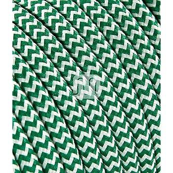 Cavo elettrico tondo rivestito in tessuto colorato per lampadari, lampade, abat jour. Il cavo elettrico diventa design! Scegli fra 30 colori. 5 Metri 2x0,75. Made in Italy! Bianco Verde