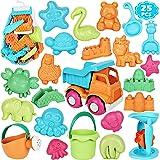 ARANEE Kids Beach Sand Toys Set, 25Pcs Sand Toys Castle and Animal Molds, Bucket, Watering Can,Beach Shovel Tool Kit, Eco-Fri