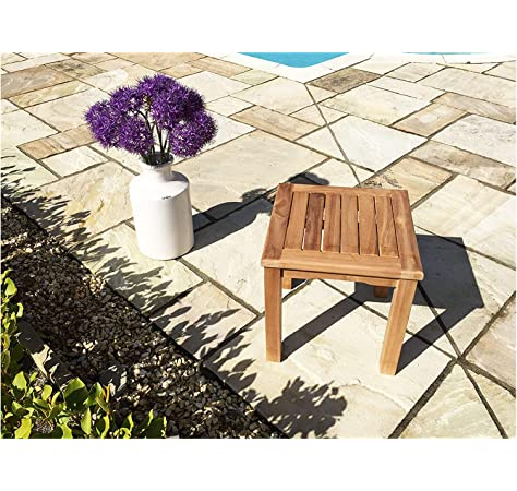 vidaXL Solid Teak Wood Coffee Table Durable Stable Weather Resistant Living Room Outdoor Patio Garden Couch Accent Side Table Furniture 45x45x45cm