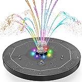 Fuente Solar con Luces LED, AISITIN 5.5W Bomba de Agua Solar 7 Colores, Dos Modos Batería Incorporada, Solar Fuente con 7 Est