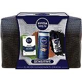 NIVEA MEN Sensitive Neceser, set de baño con desodorante roll on invisible (1 x 50 ml), gel de ducha (1 x 250 ml) y bálsamo a