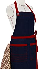 Milano Home Denim Apron With Adjustable Neck Towel Holder & Patch Pockets