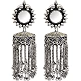 Total Fashion Oxidised Silver Afghni Mirror Jhumka Earrings Jewellery for women and girls