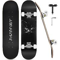 DazSpirit Skateboard, 31 x 8 pollici Double Kick Skateboard per Principianti, Tavola Skate Concava in 7 Strati Acero…