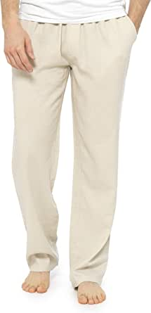 CityComfort Trousers for Men, Linen Trousers Mens with Elasticated Waist, Casual Summer Mens Clothes, Full Length Mens Pants, Lightweight Linen Trousers, Gifts for Men Teenage Boys