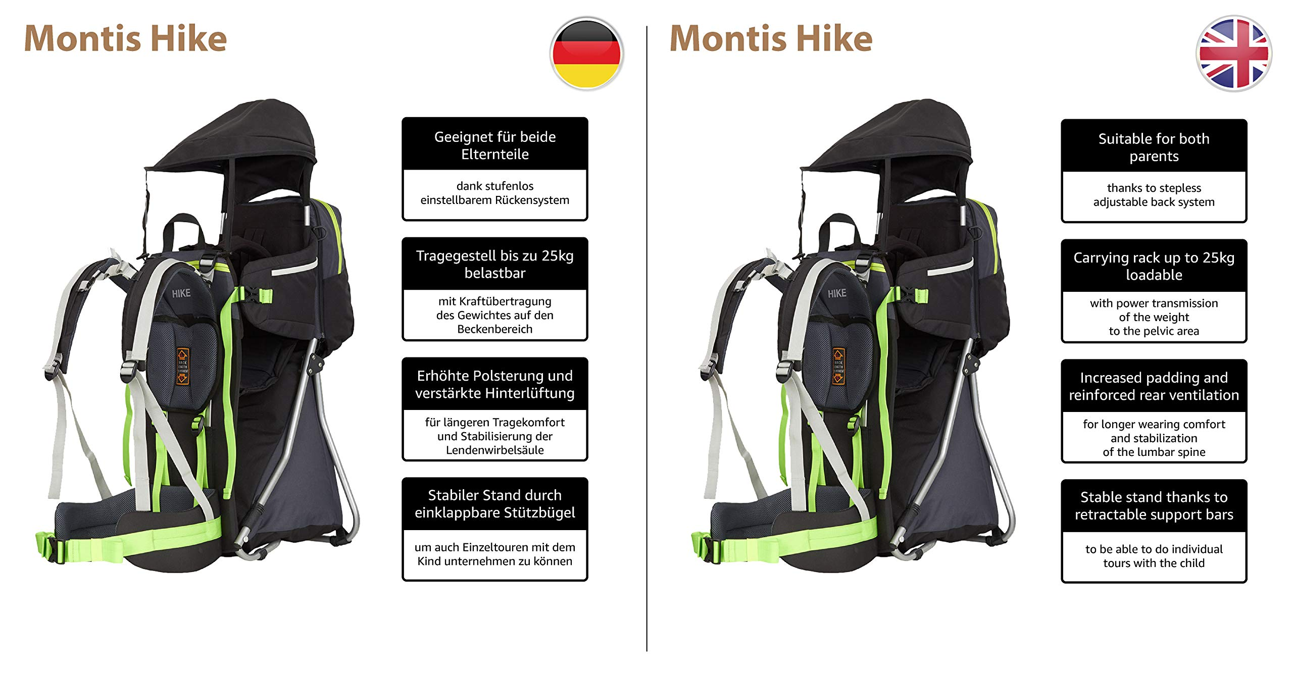 MONTIS HIKE, Premium Back Baby/Child Carrier, Up to 25kg, (black) M MONTIS OUTDOOR 89cm high, 37cm wide | up to 25kg | various colours | 28L seat bag Laminated and dirt-repellant outer material | approx. 2.2kg (without extras) Fully-adjustable, padded 5-point child's safety harness | plush lining, raised wind guard, can be filled from both sides | forehead cushion 4