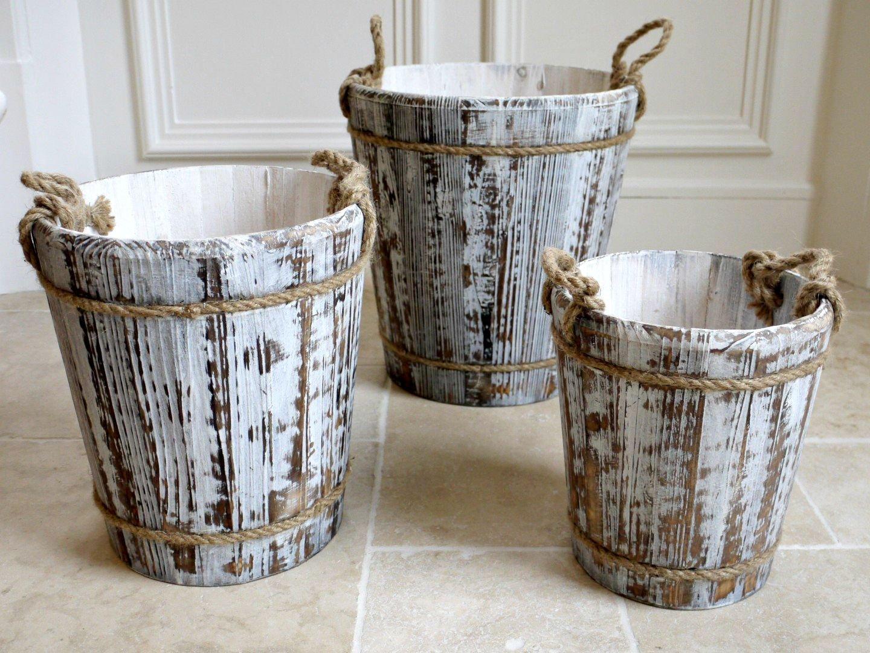 Little sunshine 3 secchi in legno ceste con maniglie di corda- Bianco